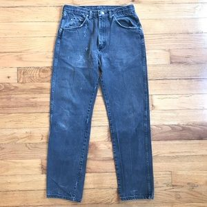VTG Wrangler Distressed Straight Leg Black Jeans
